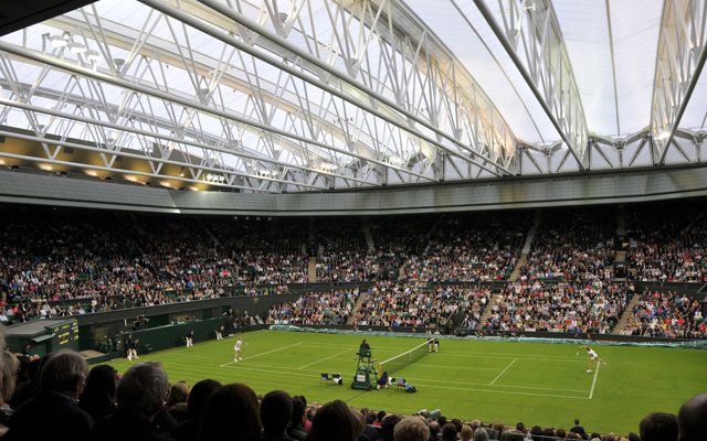 Retractable roof fully deployed over Wimbledon Centre Court