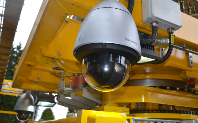 CCTV on the underside of a nuclear crane to allow remote control