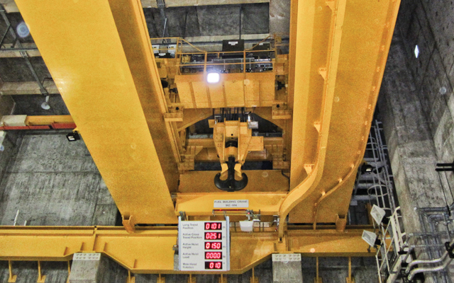 A nuclear crane that has been refurbished to meet updated industry standards