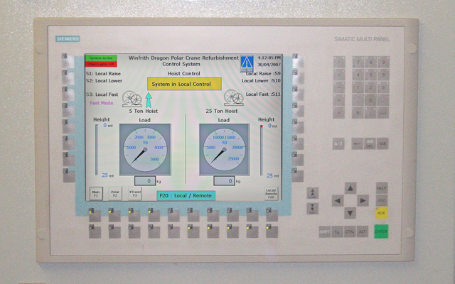 Touch-screen HMI for control of Winfrith Polar Crane