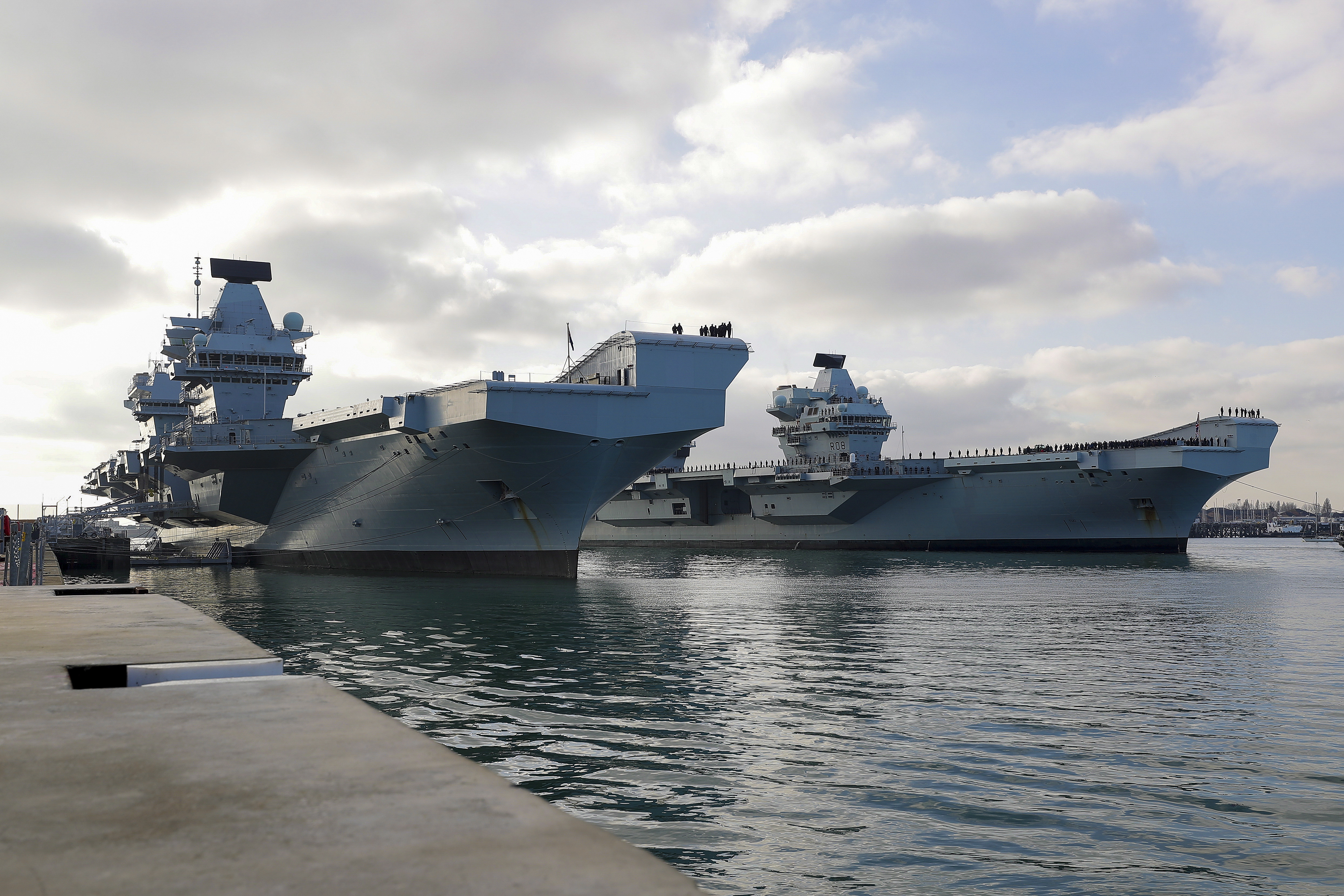 HMS Queen Elizabeth and HMS Prince of Wales docked in Portsmouth