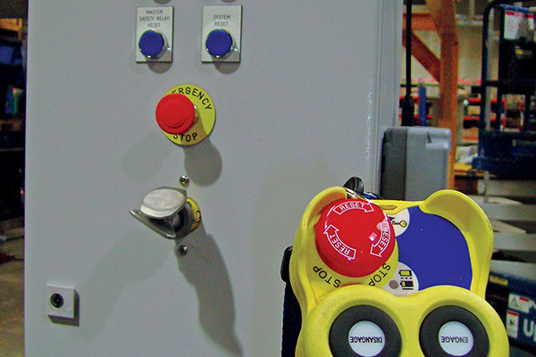Electrical controls in an enclosure with radio control for a nuclear crane.