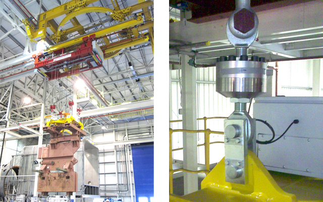 Collage of a Test-Piece Transportation Hoist (TPTH) and modified twin-barrel Street Crane hoist