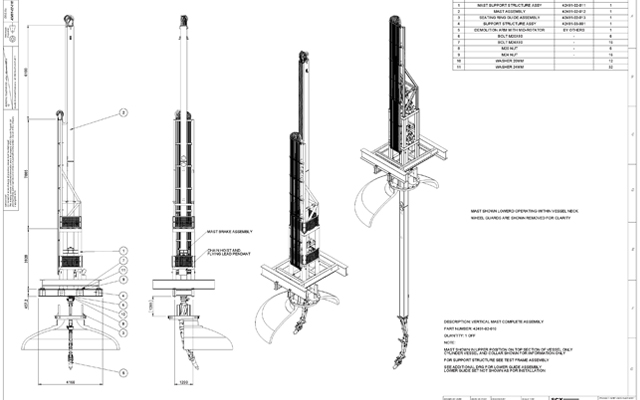 Diagram of single stage mast assembly