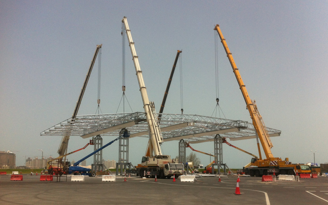 Qatar retractable fan zone being assembled