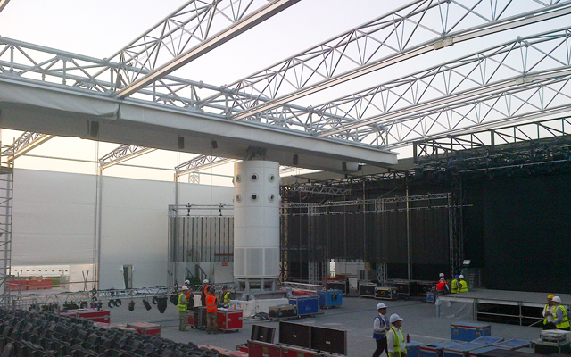Trusses of the retractable fan zone roof in Qatar