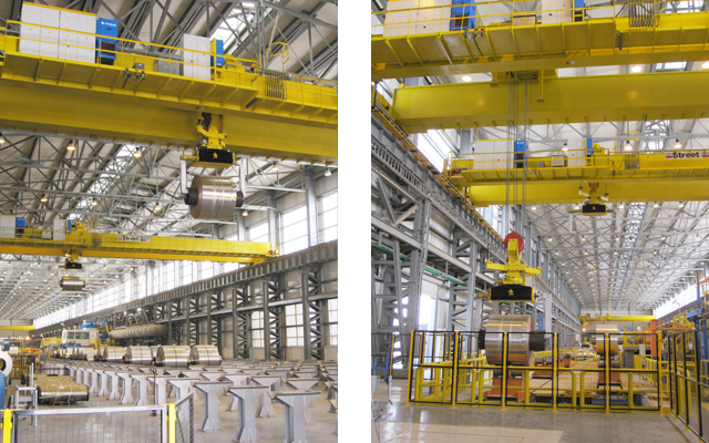 Automated cranes transporting coils in Oman aluminium rolling mill