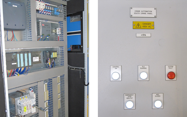Inside and outside view of a control panel